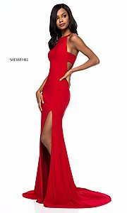 Image of long formal Sherri Hill prom dress with train. Style: SH-51947 Detail Image 1