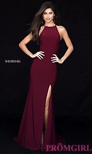 Long High-Neck Sherri Hill Prom Dress with a Train