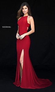 Image of long formal Sherri Hill prom dress with train. Style: SH-51947 Front Image