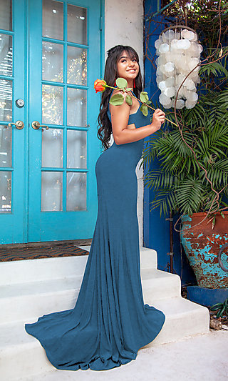 Long Formal Cut-Out Sides Prom Dress with Train