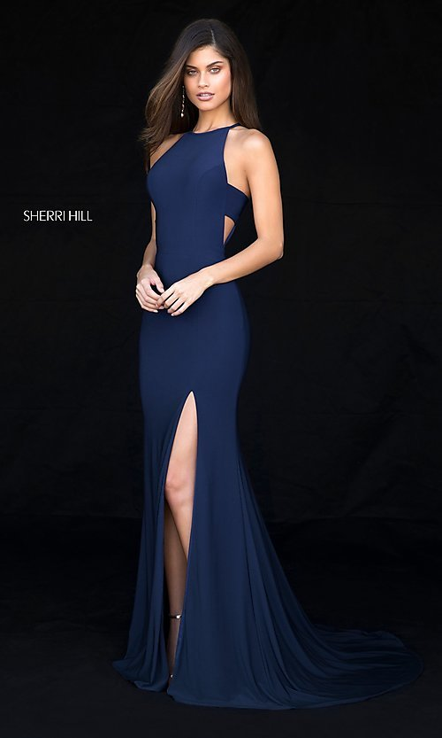 Image of long formal Sherri Hill prom dress with train. Style: SH-51947 Detail Image 2