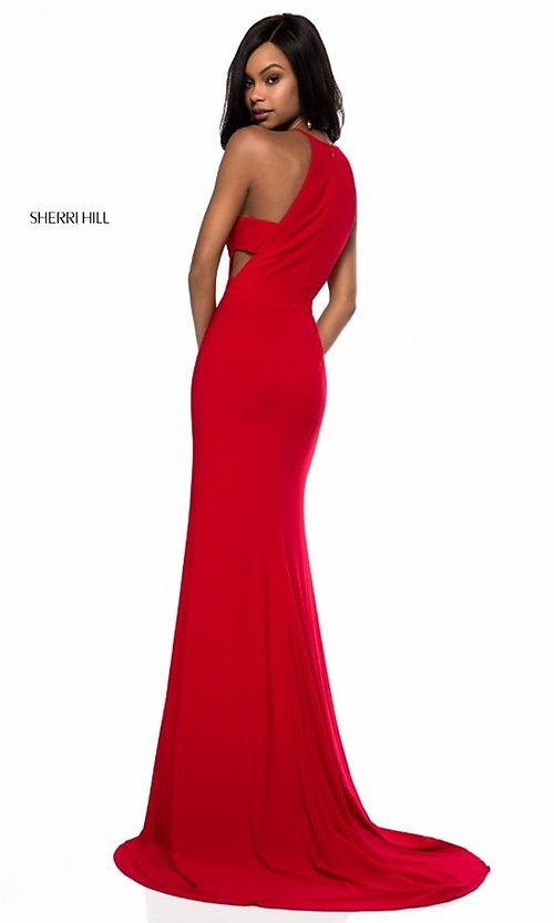 Image of long formal Sherri Hill prom dress with train. Style: SH-51947 Back Image