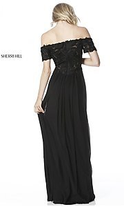 Image of long off-the-shoulder prom dress with short sleeves. Style: SH-51556 Back Image