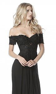 Image of long off-the-shoulder prom dress with short sleeves. Style: SH-51556 Detail Image 1
