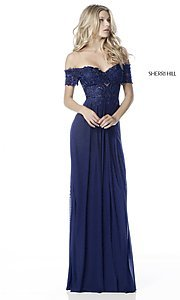 Image of long off-the-shoulder prom dress with short sleeves. Style: SH-51556 Detail Image 3