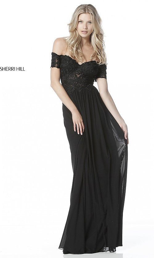 e7a426119b4 Image of long off-the-shoulder prom dress with short sleeves. Style