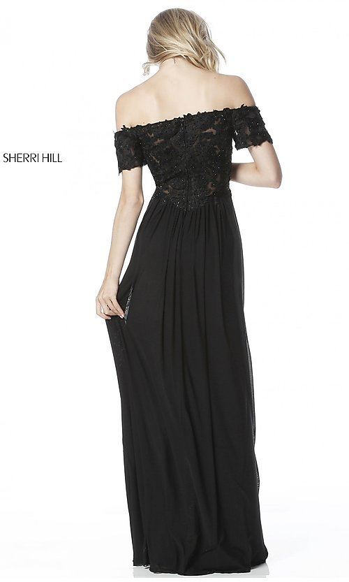 f0d0652233c8 Image of long off-the-shoulder prom dress with short sleeves. Style