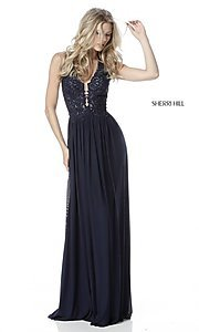 V-Neck Halter Sherri Hill Long A-Line Prom Dress