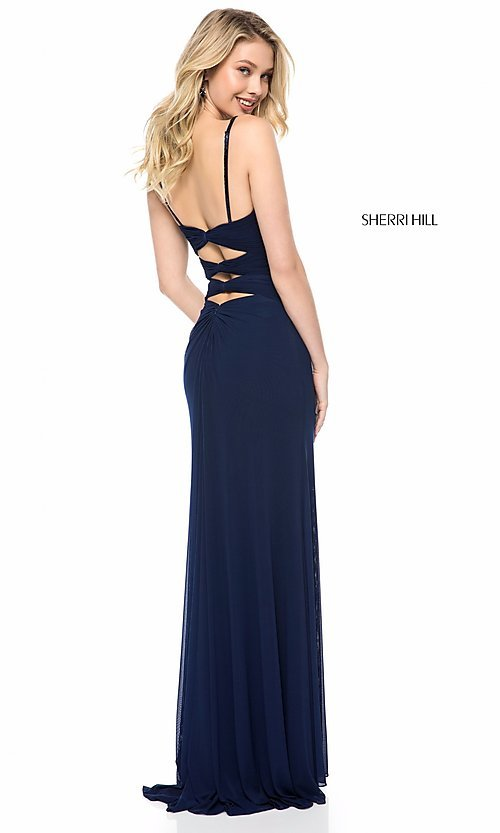 Image of long prom dress by Sherri Hill with cut outs. Style: SH-51901 Back Image