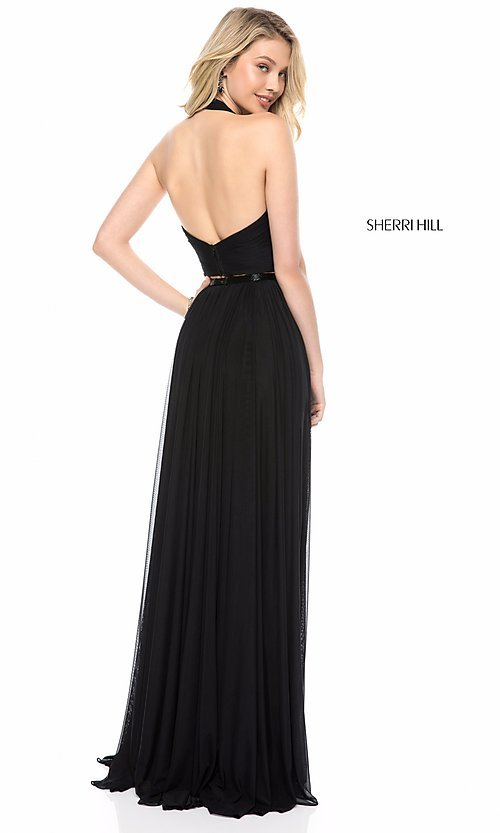 Image of long two-piece Sherri Hill halter prom dress. Style: SH-51900 Back Image