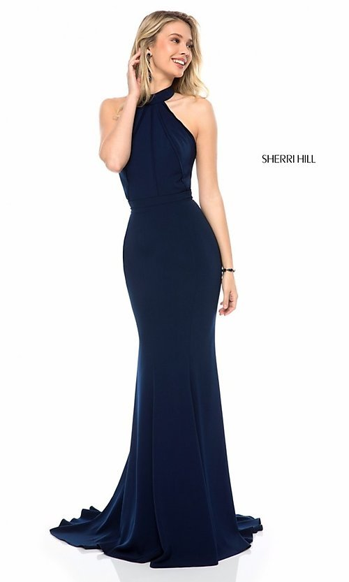 Sherri Hill Long Prom Dress with Back Cut Out-PromGirl