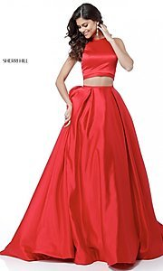 Image of Sherri Hill long two-piece prom dress with pockets. Style: SH-51883 Detail Image 1