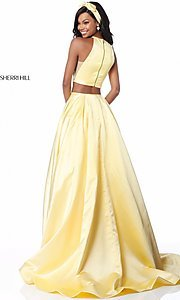 Image of Sherri Hill long two-piece prom dress with pockets. Style: SH-51883 Back Image