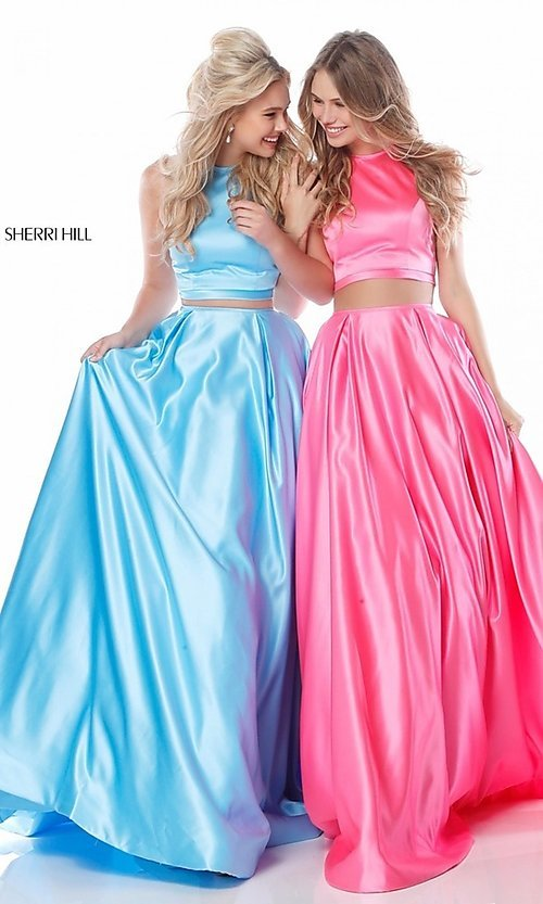 b1336569086 Image of Sherri Hill long two-piece prom dress with pockets. Style  SH