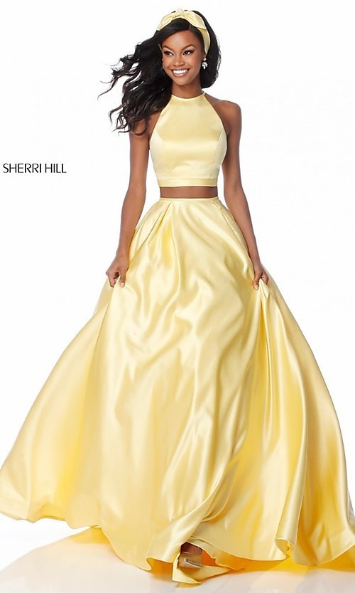 Sherri Hill Two-Piece Prom Dress with Pockets-PromGirl