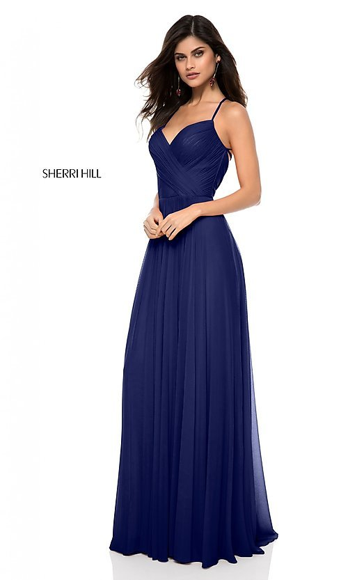 Image of long open-back Sherri Hill prom dress with ruching. Style: SH-51997 Detail Image 3