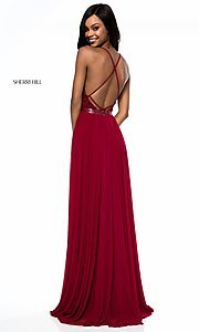 Image of long open-back Sherri Hill prom dress with lace. Style: SH-52034 Detail Image 3