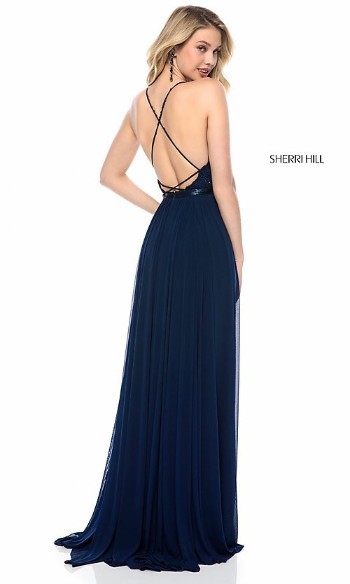 Image of long open-back Sherri Hill prom dress with lace. Style: SH-52034 Back Image