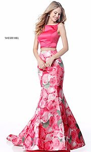 Floral-Print Sherri Hill Prom Dress