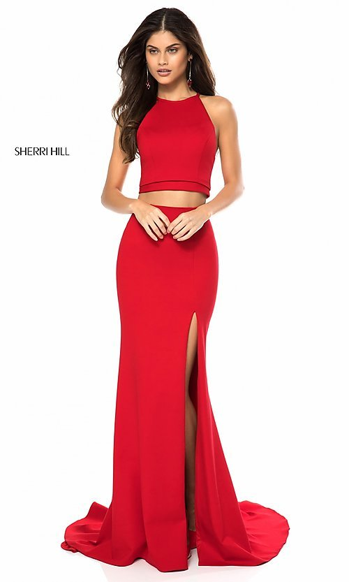 Image of two-piece prom dress by Sherri Hill with high neck. Style: SH-52042 Detail Image 1