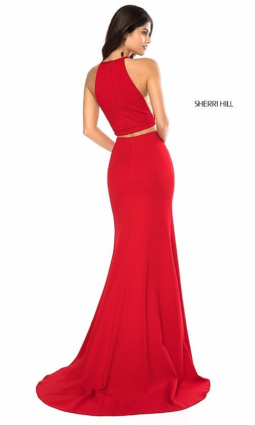 Image of two-piece prom dress by Sherri Hill with high neck. Style: SH-52042 Back Image