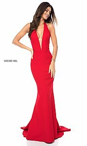 Deep V-Neck Halter Prom Dress with a Back Cut-Out