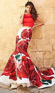 Long Two-Piece Off-the-Shoulder Sherri Hill Prom Dress