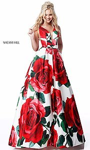 Long Floral-Print V-Neck Prom Dress