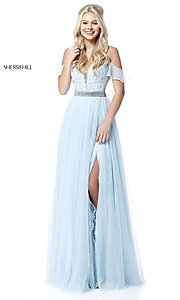 Long Off-the-Shoulder Prom Dress with Embroidery