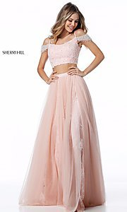 A-Line Off-the-Shoulder Two-Piece Prom Dress