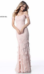 Long Open-Back Embroidered Prom Dress by Sherri Hill