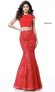 Two-Piece Off-the-Shoulder Prom Dress