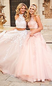 High-Neck Long Two-Piece Sherri Hill Dress