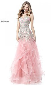 Long Embroidered Strapless Pink Prom Dress