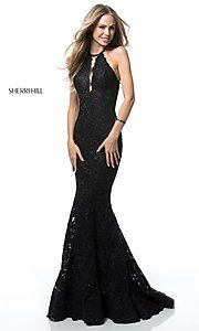 High-Neck Long Lace Open-Back Sherri Hill Prom Dress