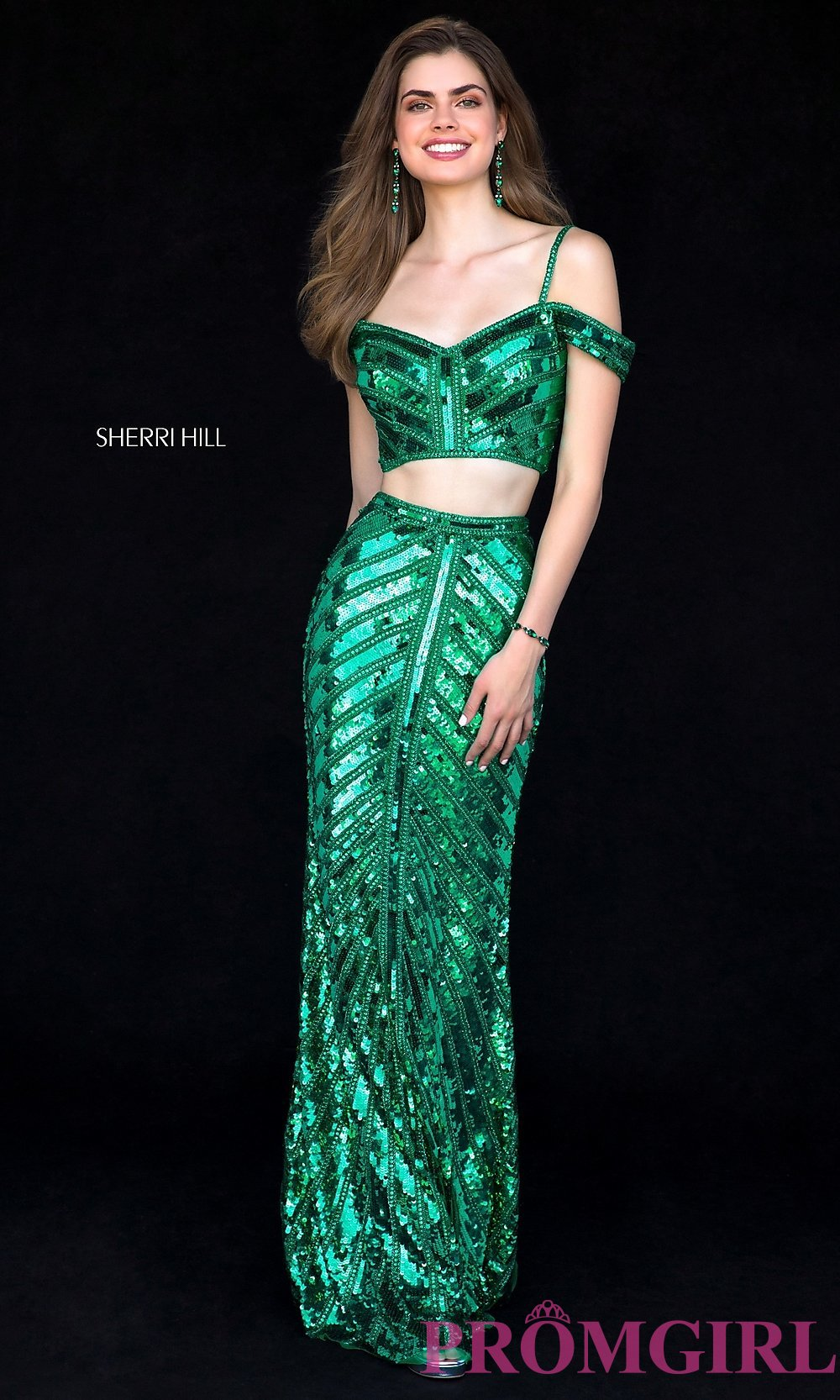 Sherri Hill Two-Piece Long Sequin Prom Dress -PromGirl