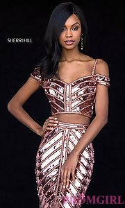 Image of two-piece sequin long prom dress by Sherri Hill. Style: SH-51934 Detail Image 3