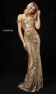 Image of two-piece sequin long prom dress by Sherri Hill. Style: SH-51934 Detail Image 2