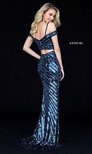 Image of two-piece sequin long prom dress by Sherri Hill. Style: SH-51934 Back Image