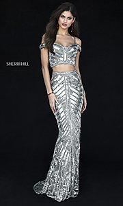 Two-Piece Sequin Long Prom Dress by Sherri Hill