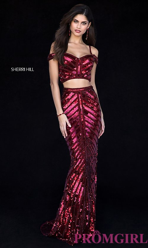 Image of two-piece sequin long prom dress by Sherri Hill. Style: SH-51934 Detail Image 1