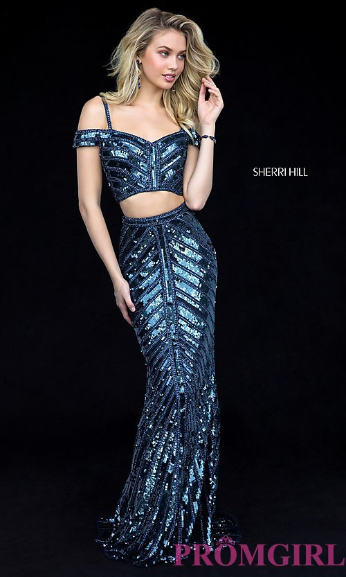 Blue Sequin Prom Dress