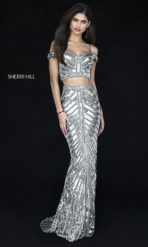Image of two-piece sequin long prom dress by Sherri Hill. Style: SH-51934 Front Image
