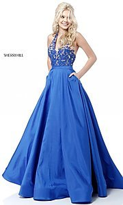 Sherri Hill V-Neck Halter Prom Dress