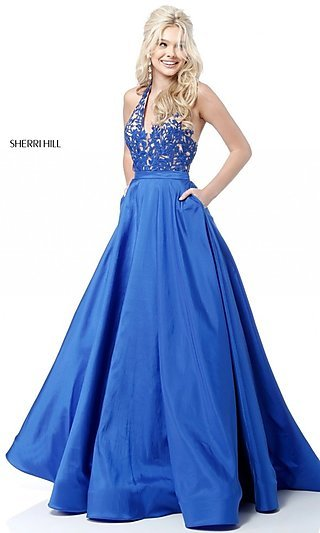 Sherri Hill V-Neck Embroidered-Lace Halter Prom Dress