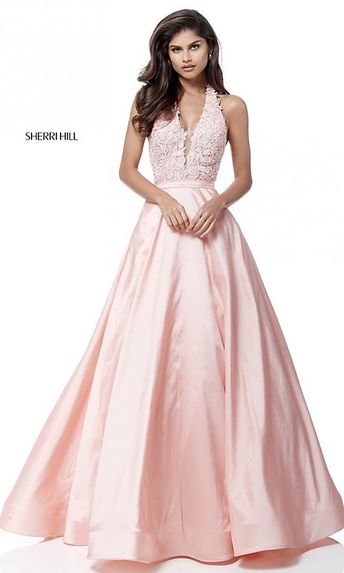 Sherri Hill Lace-Halter Long Prom Dress - PromGirl