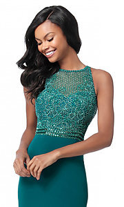 Image of floor-length beaded-bodice Sherri Hill prom dress. Style: SH-51686 Detail Image 1