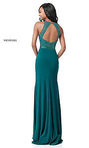 Image of floor-length beaded-bodice Sherri Hill prom dress. Style: SH-51686 Back Image
