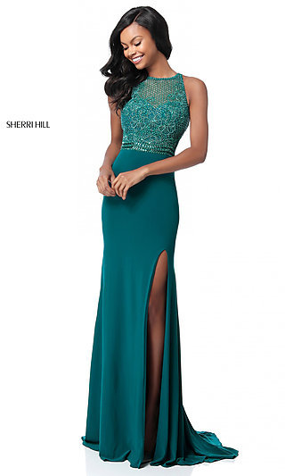 Floor-Length Beaded-Bodice Sherri Hill Prom Dress