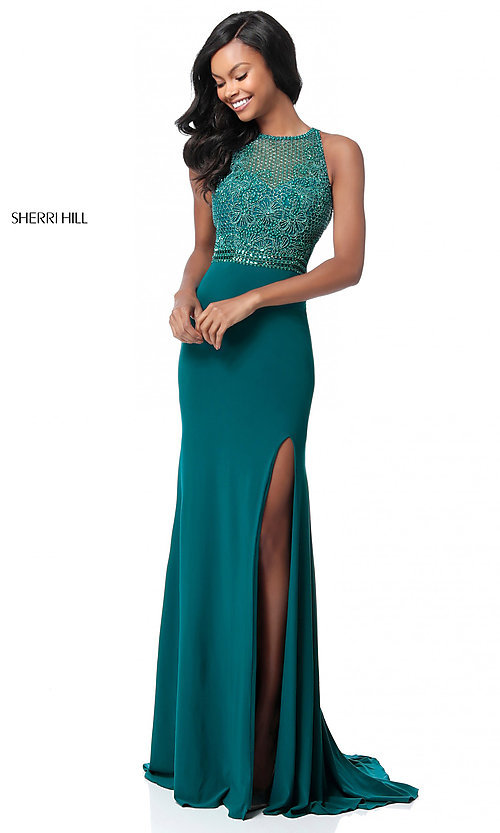 Image of floor-length beaded-bodice Sherri Hill prom dress. Style: SH-51686 Front Image